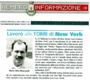 Mario Olivo Marcassoli, dalle mani di un Nembrese la costruzione delle Torri Gemelle