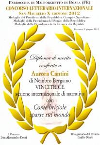diploma San Maurelio 2012 a Cantini Aurora