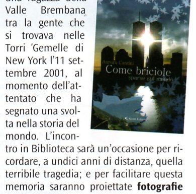 Anniversario attentato Torri Gemelle, a Nembro il romanzo di Aurora Cantini