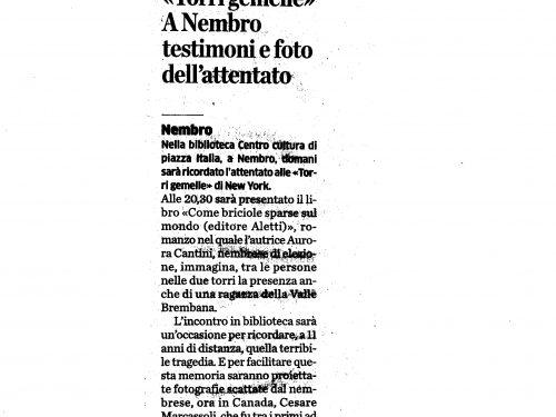 """Recensione di Tullio Carrara per """"Come briciole sparse sul mondo"""" l'attentato alle Torri Gemelle"""