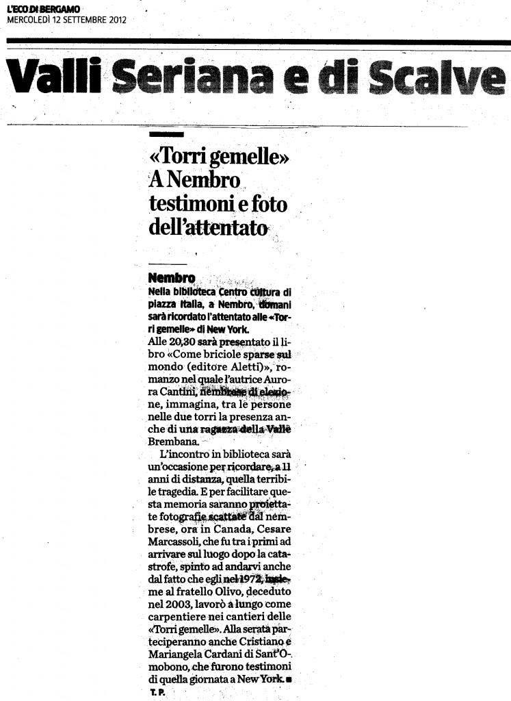 """L'Eco di Bergamo e """"Come briciole sparse ul mondo"""" di Aurora Cantini in memoria delle vittime dell'11 settembre 2001"""