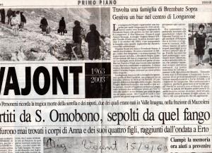 L' Eco di Bergamo 10 ottobre 2003 per l'Anniversario del Vajont