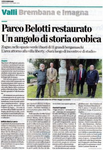 L'Eco di Bergamo per Parco Villa Bortolo Belotti Zogno
