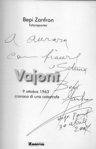 Libro Vajont di Bepi Zanfron con dedica