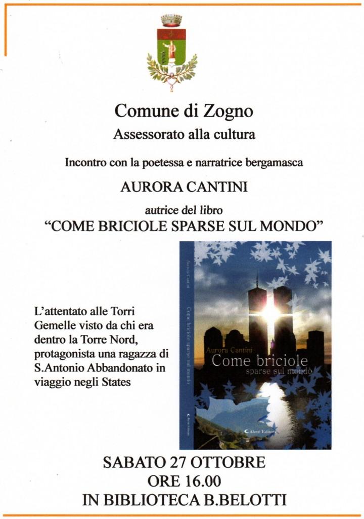 """Volantino Zogno per """"Come briciole sparse sul mondo"""" 27 ottobre 2012"""