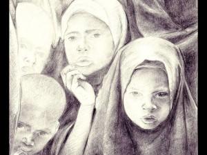 Litografia di Luigi Oldani per Avsi, In Cerca di cibo, emergenza fame in Corno d'Africa