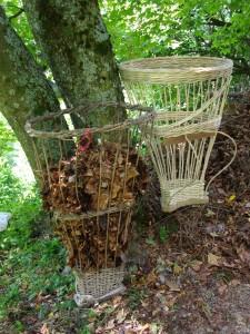 La gàbia, la gerla più grande diffusa sulla montagna bergamasca negli Anni Sessanta, usata per trasportare letame fogliame, ma anche vitellini e galline