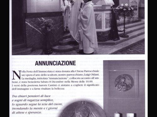 L'ANNUNCIAZIONE, scultura di Luigi Oldani, musica di Corrado Rossi, parole di Aurora Cantini