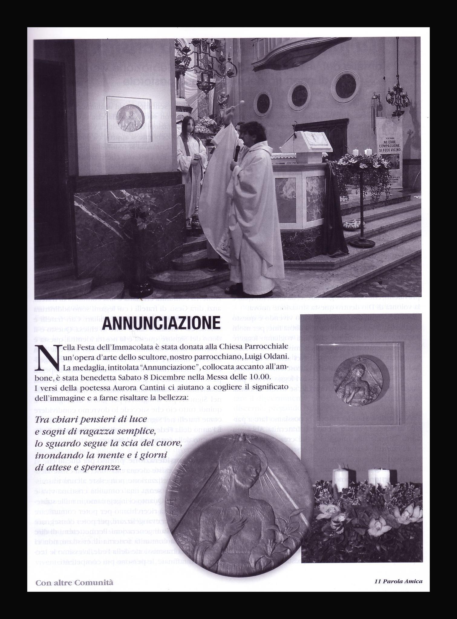 L'Annunciazione dello scultore Luigi Oldani e poesia di Aurora Cantini