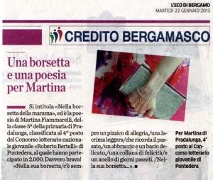 L'Eco di Bergamo per Martina poesia