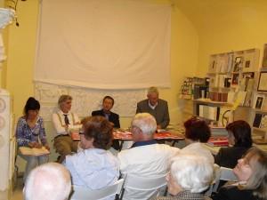 Rassegna Letture bergamasche: Aurora Cantini, Pierantonio Volpini, Umberto Zanetti, Sergio Pagliaroli. Autore della foto: Pierantonio Volpini
