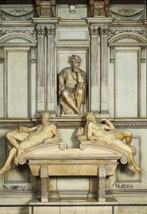 Cappella dei Medici, monumento a Loreno de' Medici, Michelangelo: Crepuscolo e Aurora