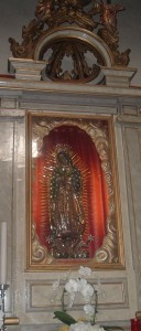 La Madonna di Guadalupe come si può ammirare nella chiesa a lei intitolata, ad Albino