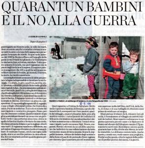 I 40 bambini di Drenica, Kosovo 1998, articolo su L'Eco di Bergamo