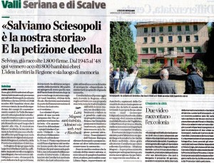 L'Eco di Bergamo, la Sciesopoli di Selvino