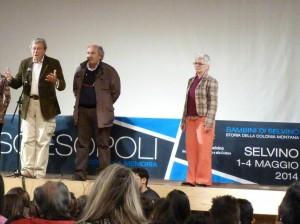Sciesopoli 3 maggio: Marco Cavallarin con il Vice Sindaco Angelo Bertocchi e la regista Laura Morelli