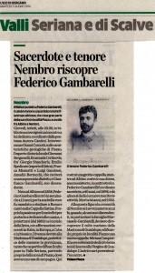 Articolo Federico Gambarelli su L'Eco di Bergamo