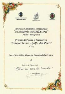 Diploma Premio della Critica Golfo dei Poeti per il libro Oltre la curva del tramonto