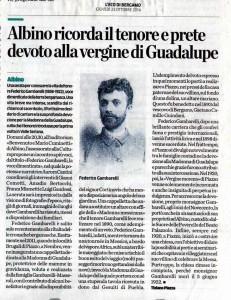 Articolo su L'Eco di Bergamo per il Tenore Mons. Federico Gambarelli