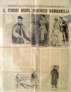 La pagina dedicata dal Tenore Mons Federico Gambarelli a cura di Mario Pezzotta, 1971