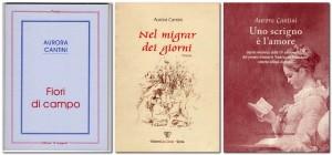 Le copertine dei primi 3 libri di poesie di Aurora Cantini