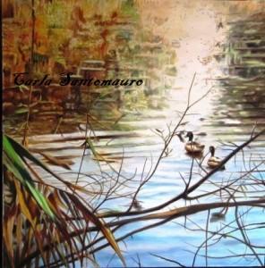 Laghetto del Parco Nord Milano, dipinto di Carla Santomauro