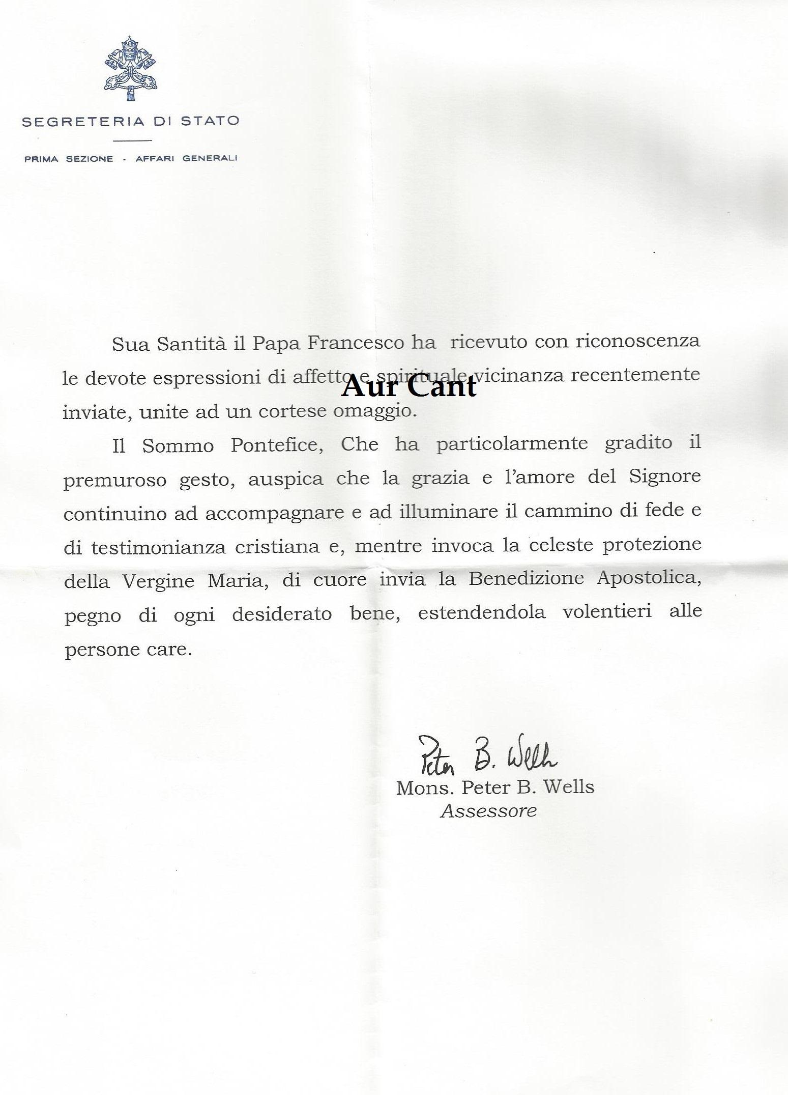 Una lettera da Papa Francesco