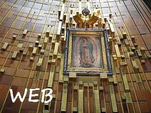 La tela della Madonna di Guadalupe e il supporto come appare ancora oggi nella basilica in Messico