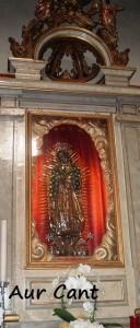 La Madonna di Guadalupe come appare ai fedeli nella chiesa di Albino