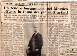 Articolo d'epoca riguardante il Tenore Federico Gambarelli, Albino