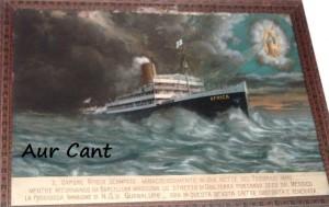 Il dipinto che descrive lo scampato naufragio della nave Africa, appeso nella chiesa di Albino dedicata alla Madonna di Guadalupe