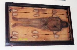La copia del lenzuolo della Sacra Sindone custodito nel Santuario della Madonna di Guadalupe ad Albino