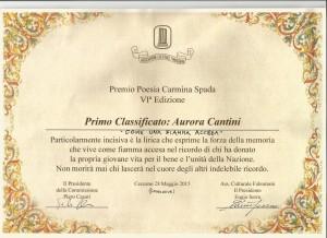 Diploma Primo premio concorso di poesia Carmelina Spada