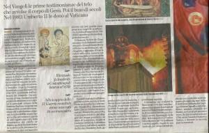 Articolo de L'Eco di Bergamo sul viaggio della Sindone