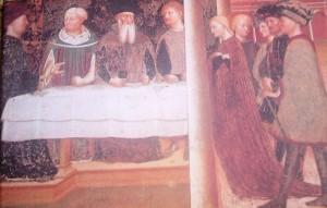 """Particolare dell'affresco """"Il banchetto di Erode2 di Masolino da Panicale, 1435, Battistero di Castiglione Olona, Varese"""