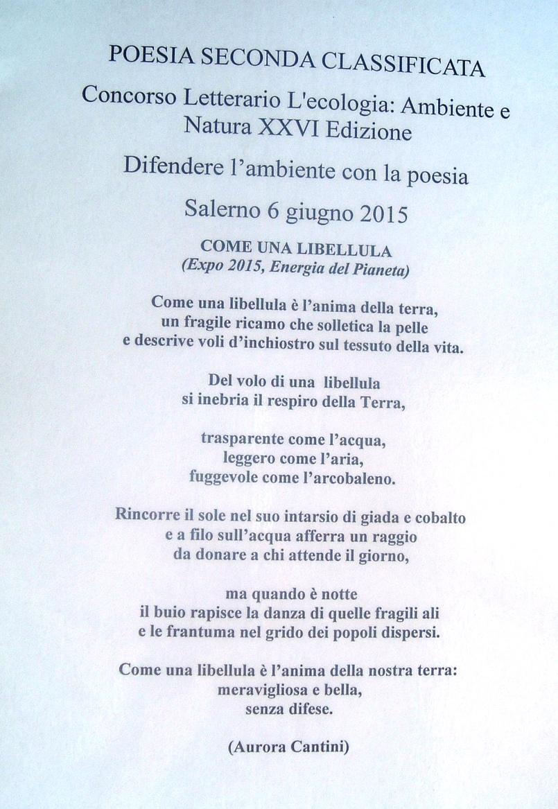 abbastanza EXPO Difendere l'ambiente con la poesia, Salerno concorso UJ25