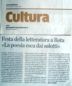 Articolo de L'Eco di Bergamo per il Festival della Letteratura