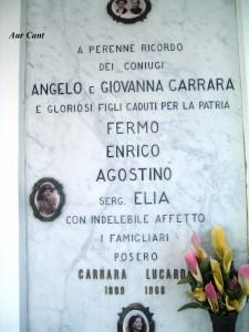 La lapide in ricordo del Sergente Celestino Elia Carrara