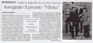 """L'articolo dedicato al concorso nazionale di poesia """"Amalia Vilotta"""" a Cosenza"""