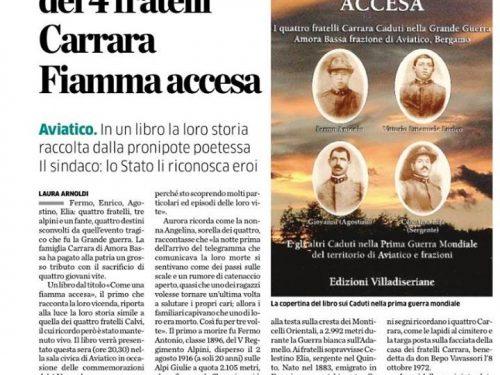 """Recensione di Elvira Macchiavelli per """"Come una fiamma accesa"""" dedicato ai  fratelli Carrara nella Grande Guerra"""