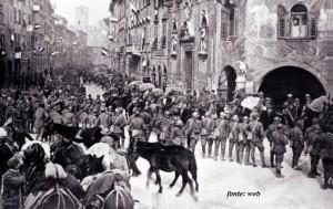 Soldati italiani entrati a Trento il 4 novembre 1918