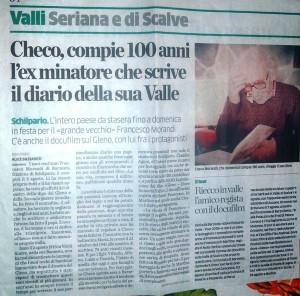 L'articolo su L'Eco di Bergamo per i cento anni di Francesco Morandi, Barzesto di Schilpario