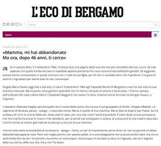 articolo su Angela Maria Favaro L'Eco Bg 2011