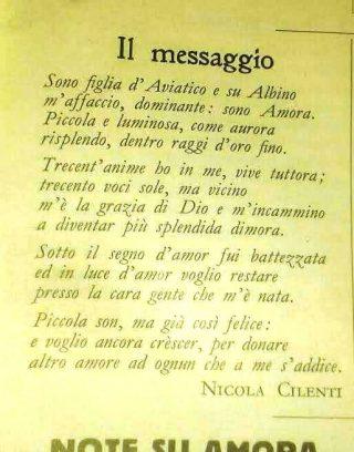 La poesia ODE DI AMORA, di Nicola Cilenti
