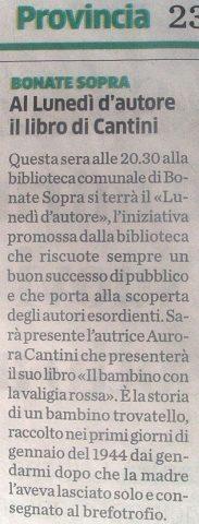 """Bonate Sopra, presentazione del romanzo """"Il bambino con la valigia rossa"""" di Aurora Cantini, articolo su L'Eco di Bergamo"""