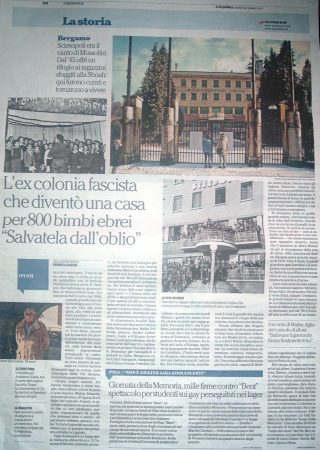 Articolo su La Repubblica.it per Sciesopoli Selvino 26 gennaio 2017