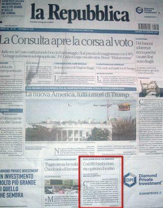 Prima pagina su La Repubblica per Sciesopoli 26 gennaio 2017
