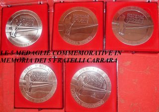 Le 5 Medaglie Commemorative in Memoria dei 5 fratelli Carrara Combattenti e Caduti nella Grande Guerra