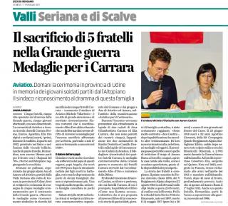 L'articolo su L'eco di Bergamo sulla visita a Gonars il 18 febbraio per le Medaglie Grande Guerra assegnate ai 5 fratelli Carrara di Amora Bassa