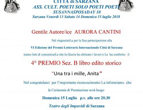 Il romanzo dedicato ad Anita Garibaldi premiato a Sarzana